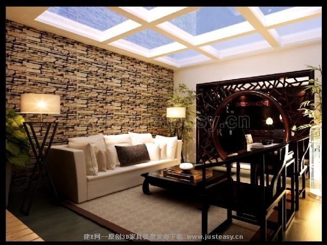 中式地下室客厅书房3d模型下载[id:73056]图片