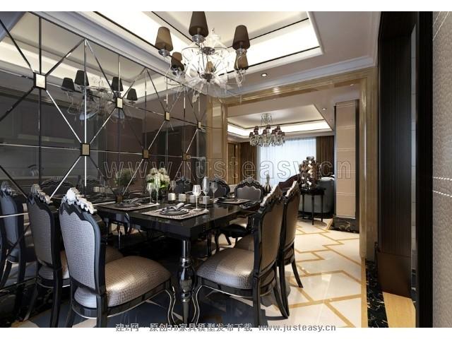 邱德光新古典欧式客餐厅3d模型下载[id:73532]