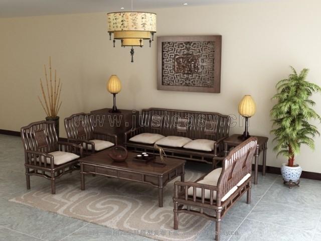 中式客厅沙发椅子组合3d模型下载[id:73591]