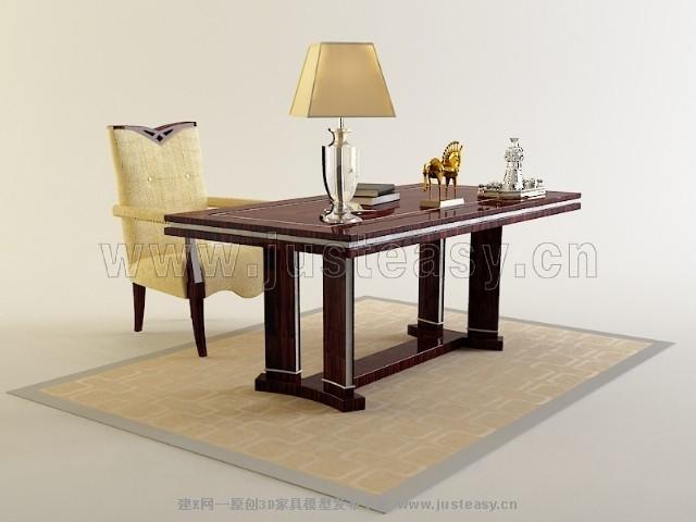 现代欧式书房桌椅桌椅组合椅子模型-3d模型分享交流