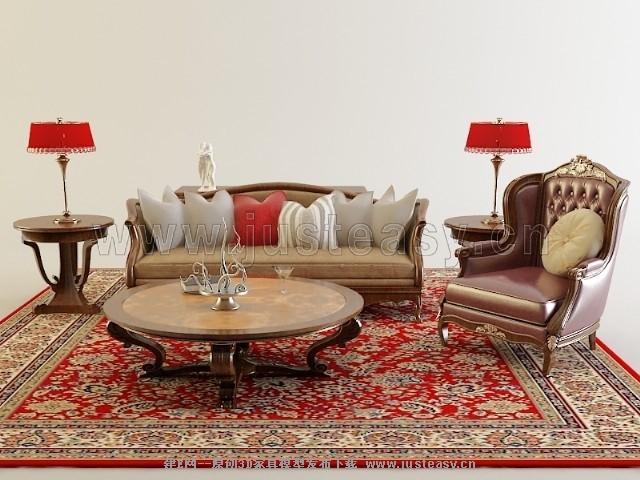 欧式沙发茶几组合[模型id:73920]