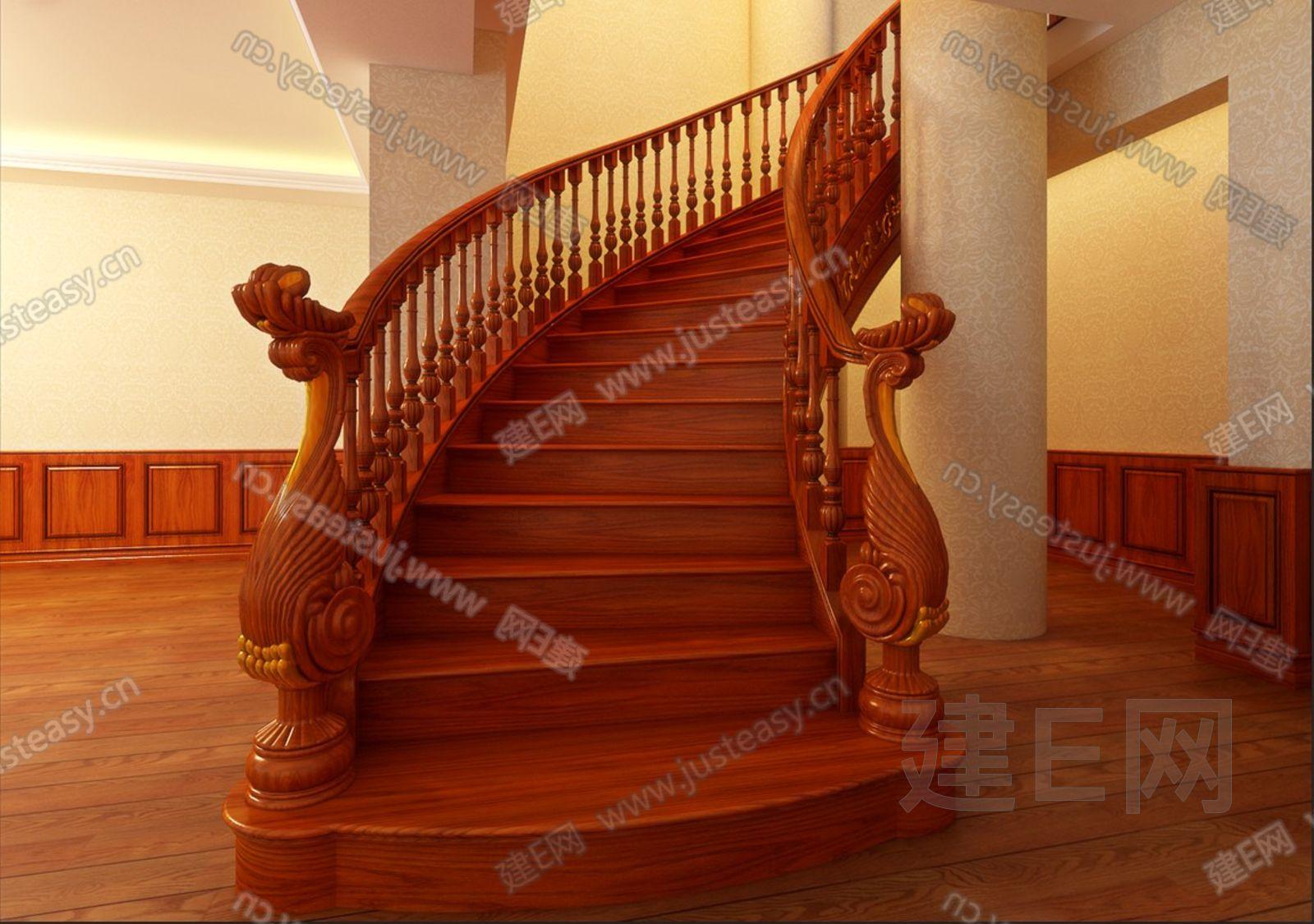 欧式雕花弧形旋转楼梯3d模型下载[id:89153]