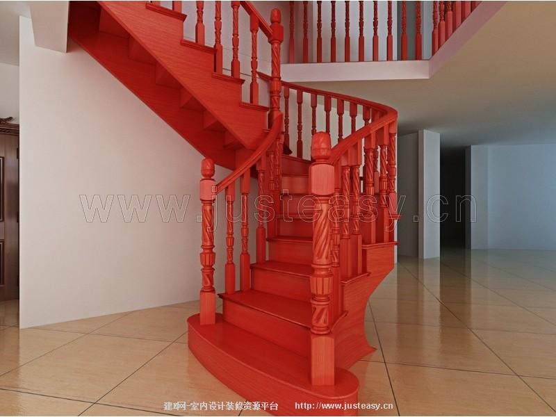 中式旋转楼梯栏杆3d模型下载[id:78120]