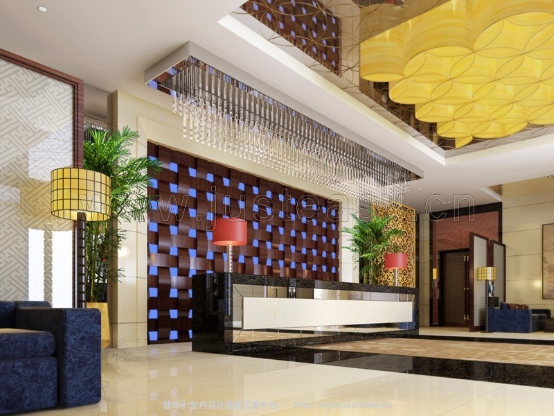 南阳现代中式酒店大厅[模型id:78376]图片