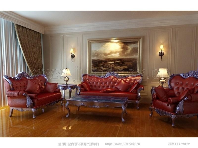欧式豪华古典沙发3d模型下载[id:79162]