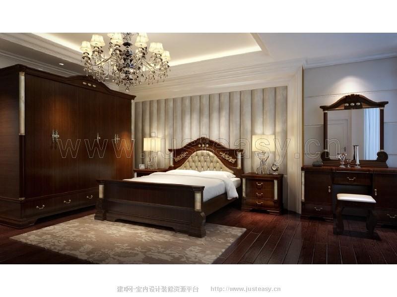 欧式乡村卧室床衣柜床头柜梳妆台3d模型下载[id:796