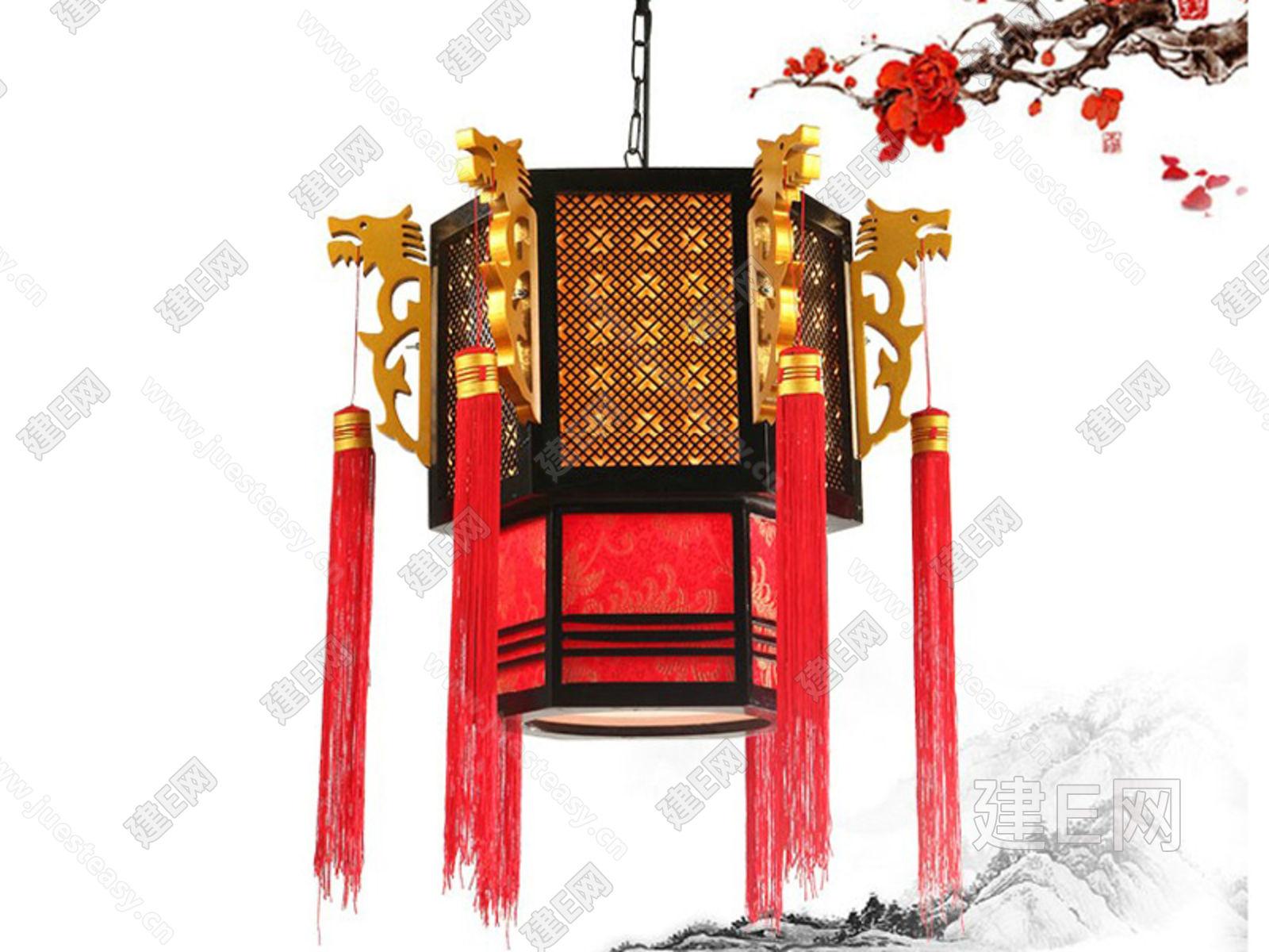 中式雕花宫灯3d模型下载[id:80765]