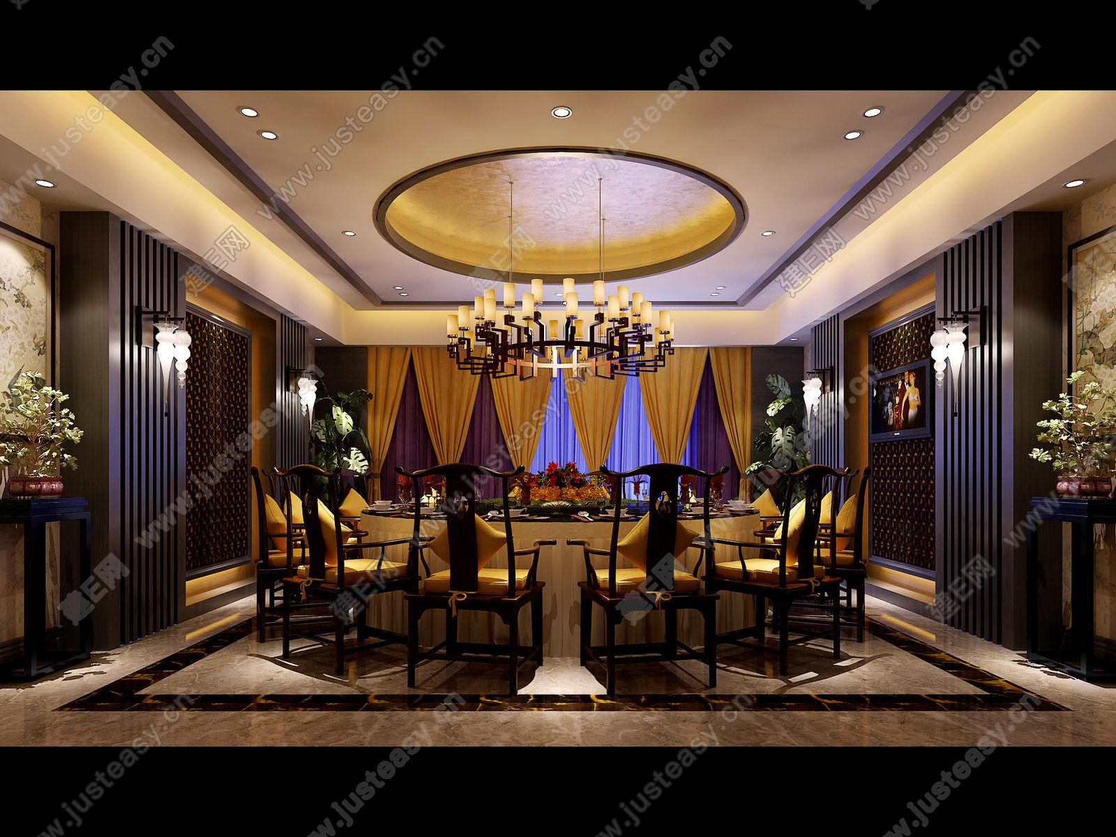 新中式酒店餐厅包间3d模型下载[id:82701]_建e网模型