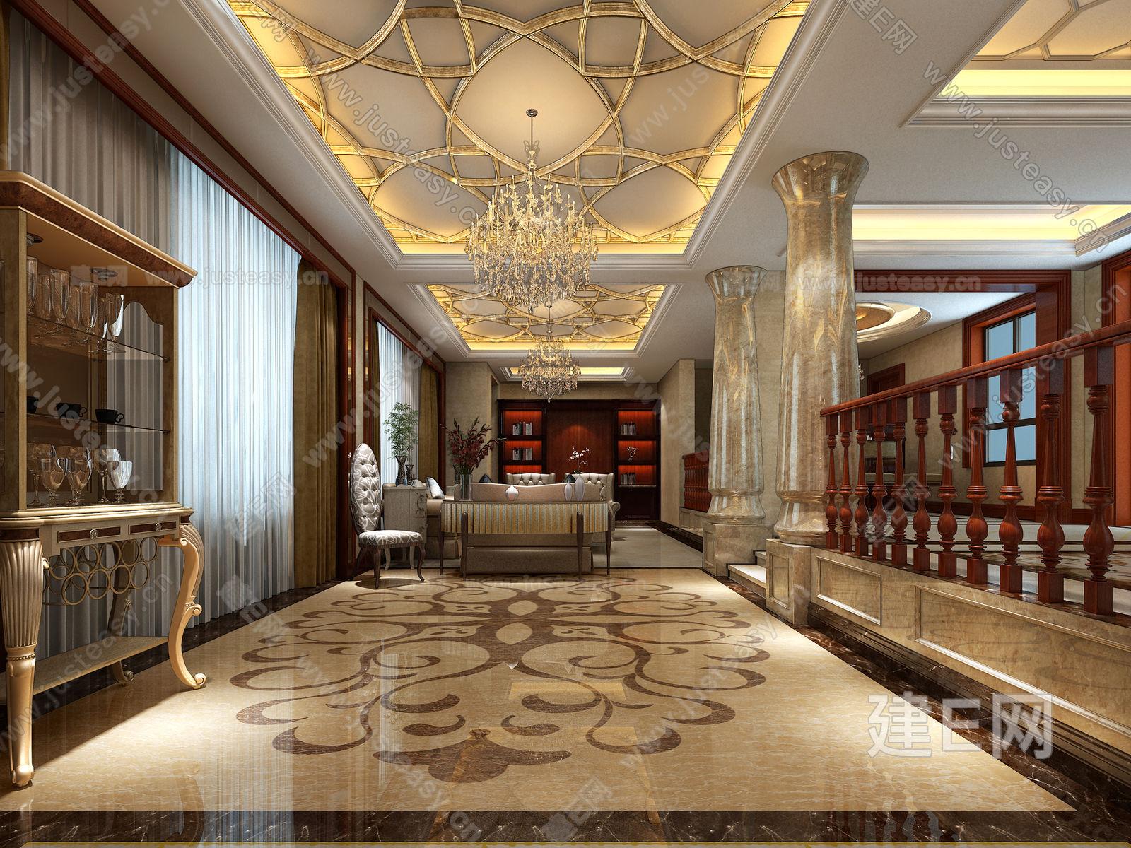新古典欧式别墅客餐厅楼梯过道3d模型下载[id:84025]