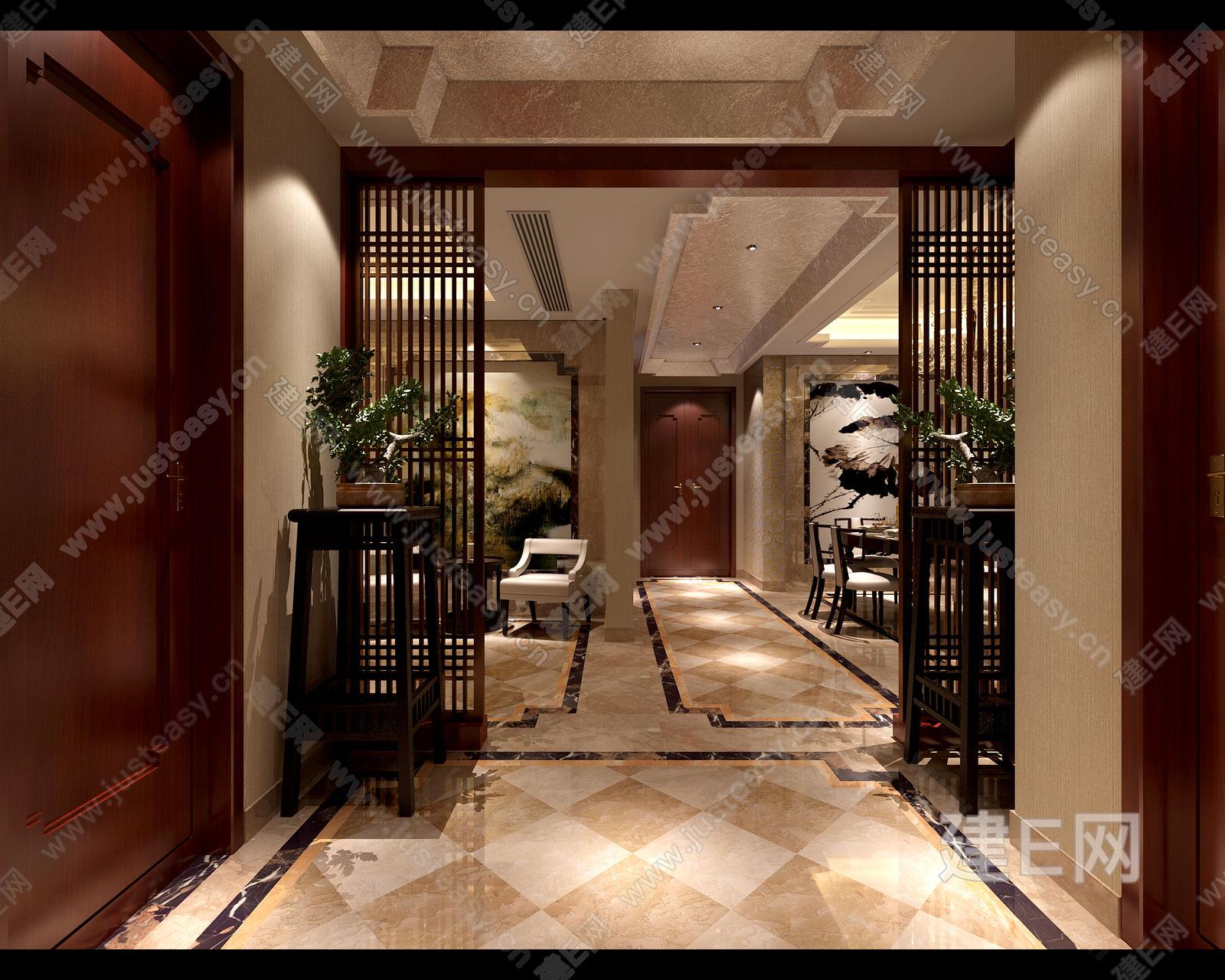 现代中式别墅客餐厅玄关