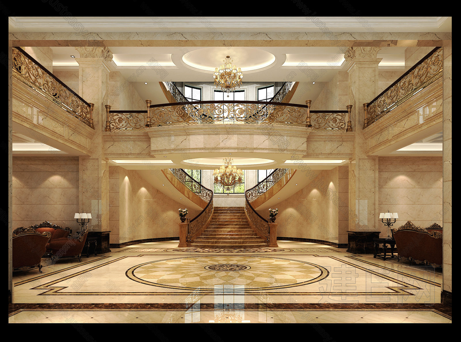 欧式别墅接待大厅3d模型下载[id:85456]