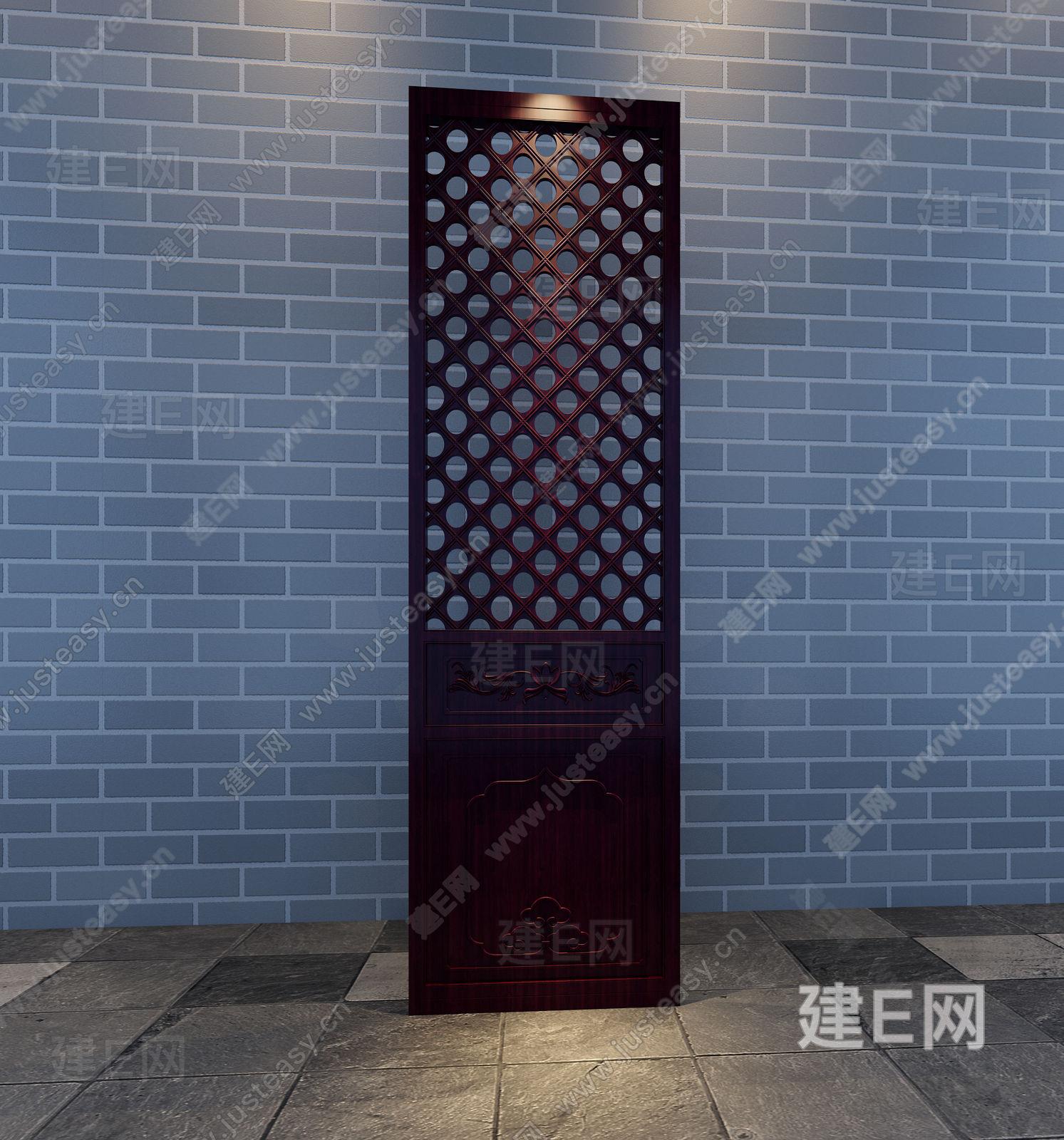 中式实木雕花屏风隔断3d模型下载[id:90674]