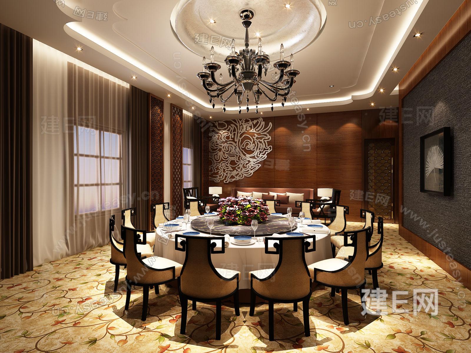 现代中式酒店餐厅包厢3d模型下载[id:91103]_建e网-3d