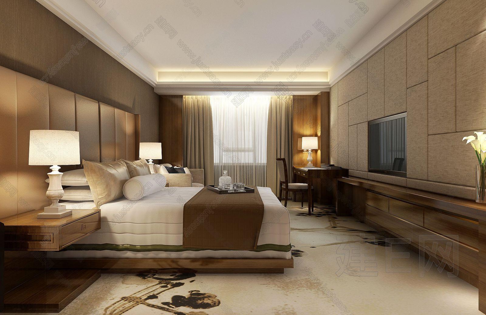 新中式酒店包间床具桌椅组合[模型id:92606]