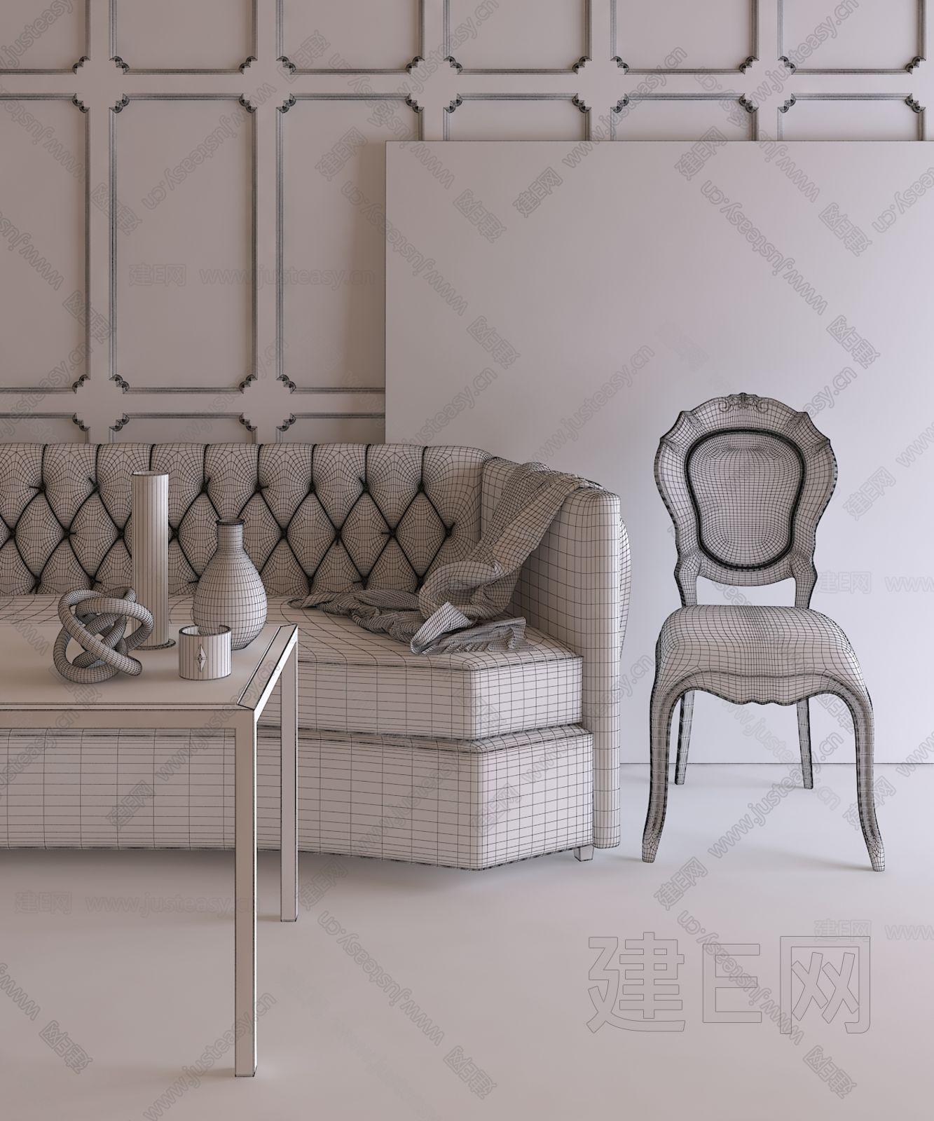 欧式沙发椅子组合3d模型下载[id:127824]