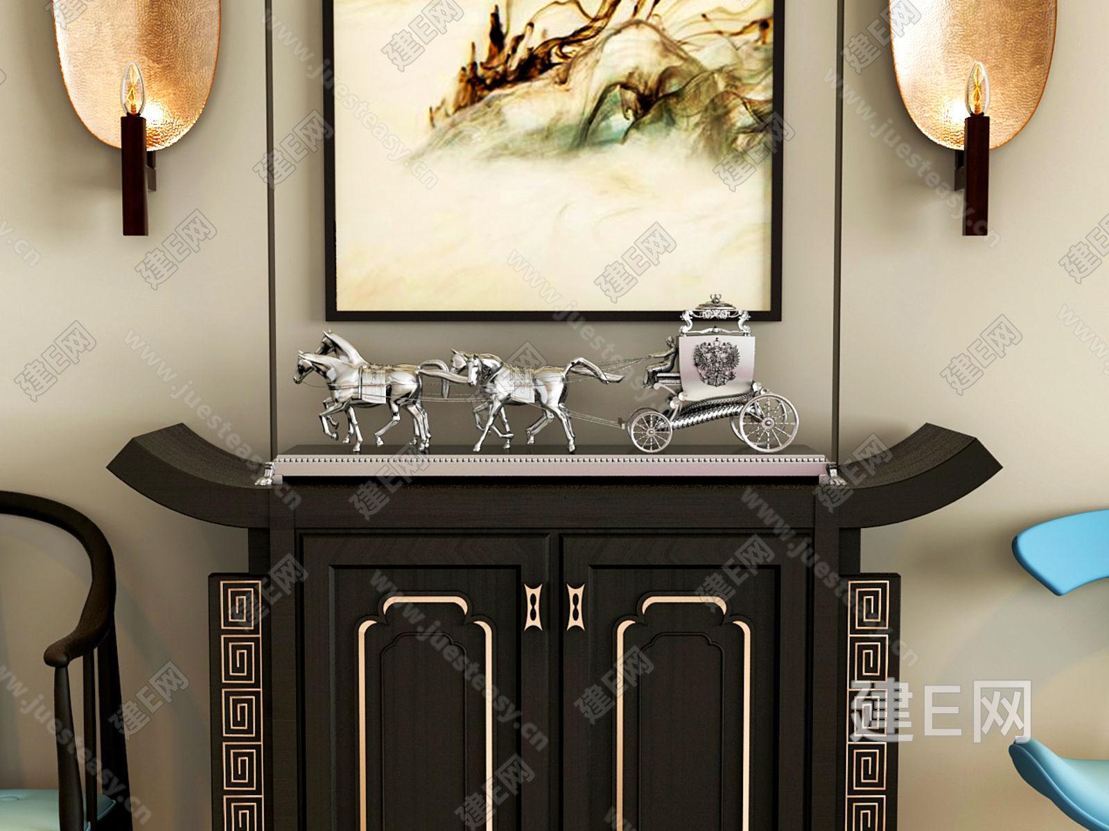 新中式单椅与端景台3d模型下载[id:128966]