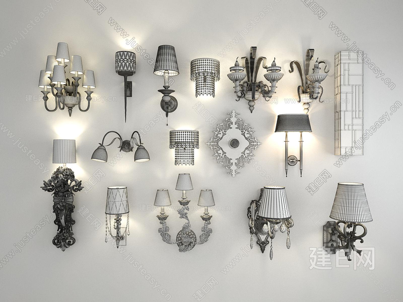 欧式奢华水晶琉璃金属壁灯组合壁灯灯具模型-3d模型分享交流平台-原创3d模型下载-3d模型下载网站