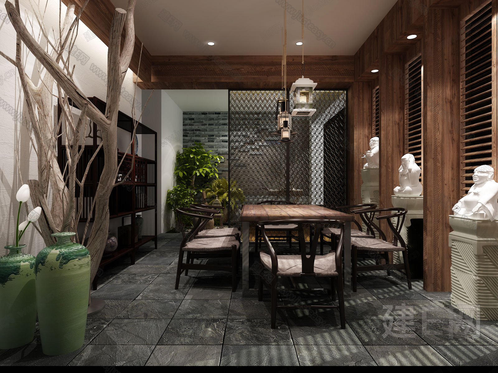 建e网 模型首页 住宅地产 家装 现代中式茶室[模型id:109157]  tao