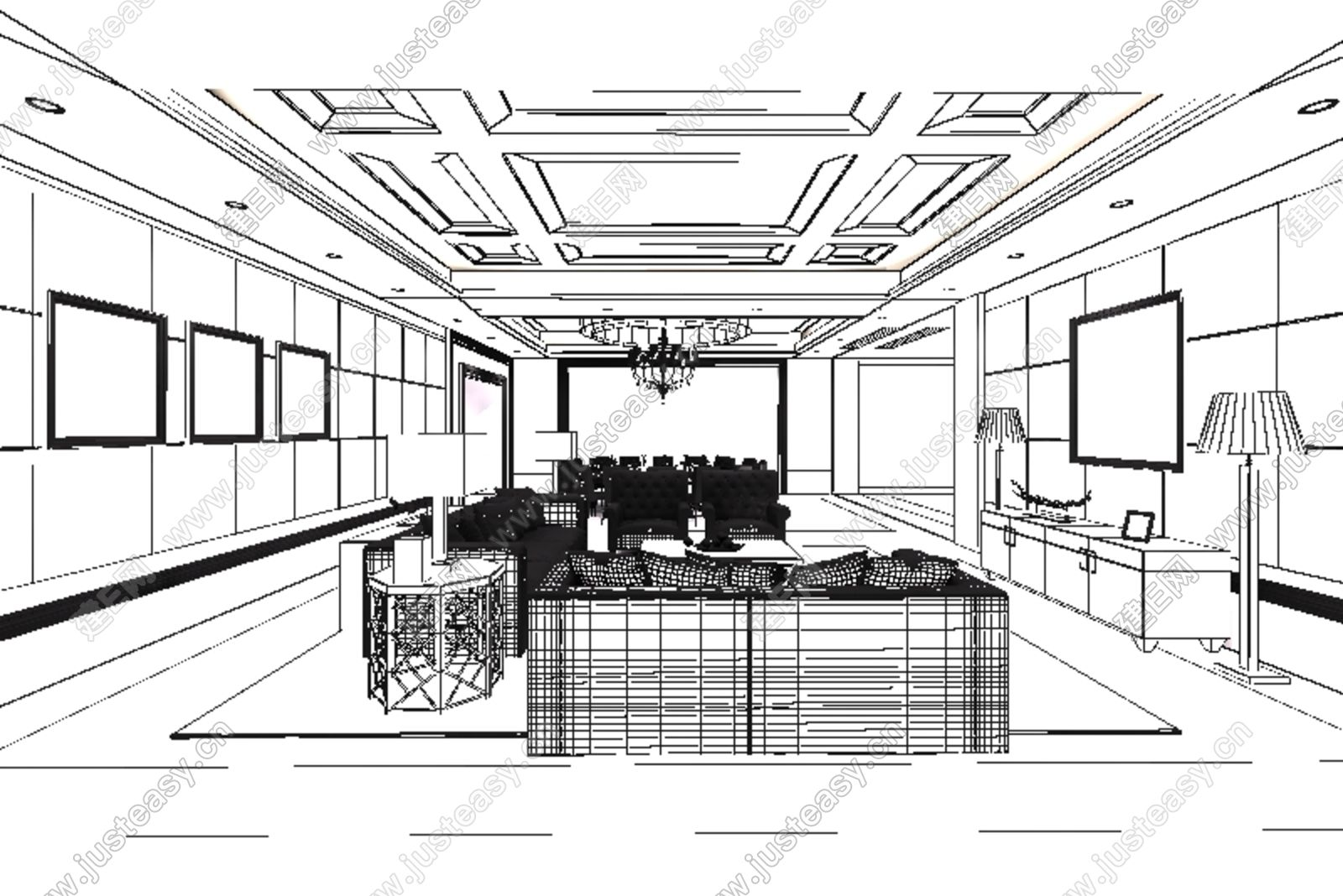 中式混搭沙发茶几组合3d模型下载[id:120031]