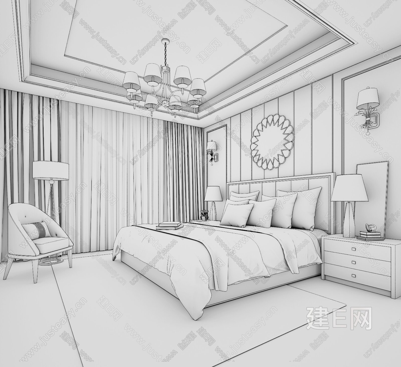 卧室透视图线稿