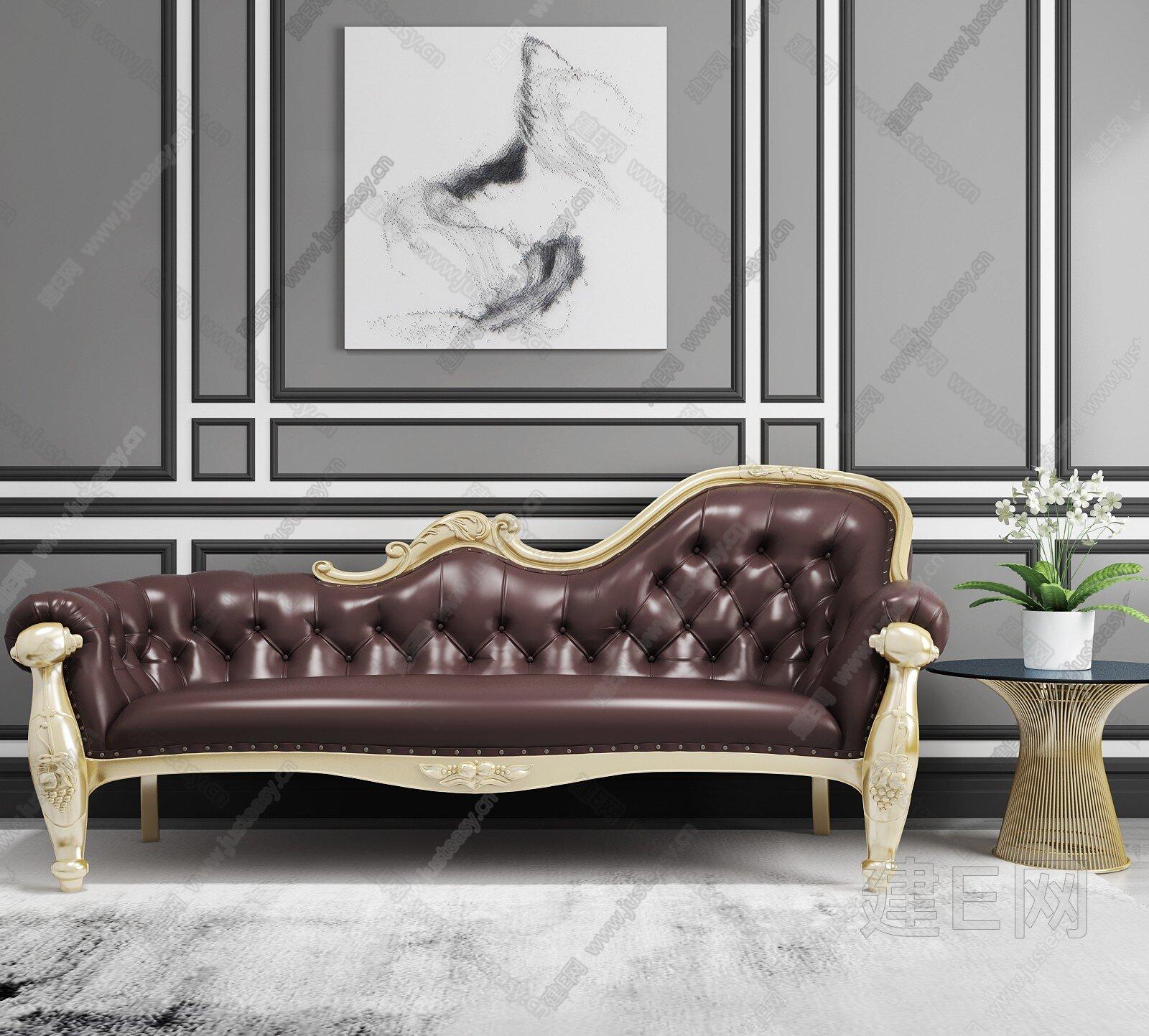 欧式沙发贵妃椅- 建E网3d模型分享交流平台-3d模型下载-3d模型下载网站