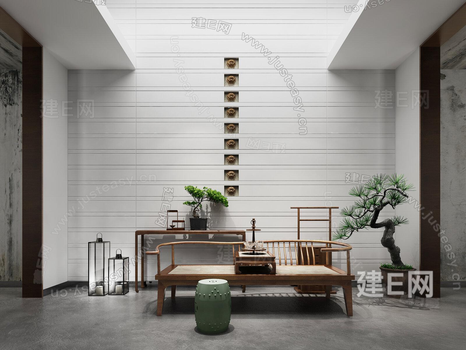 新中式端景台休闲椅组合3d模型下载[id:132695]