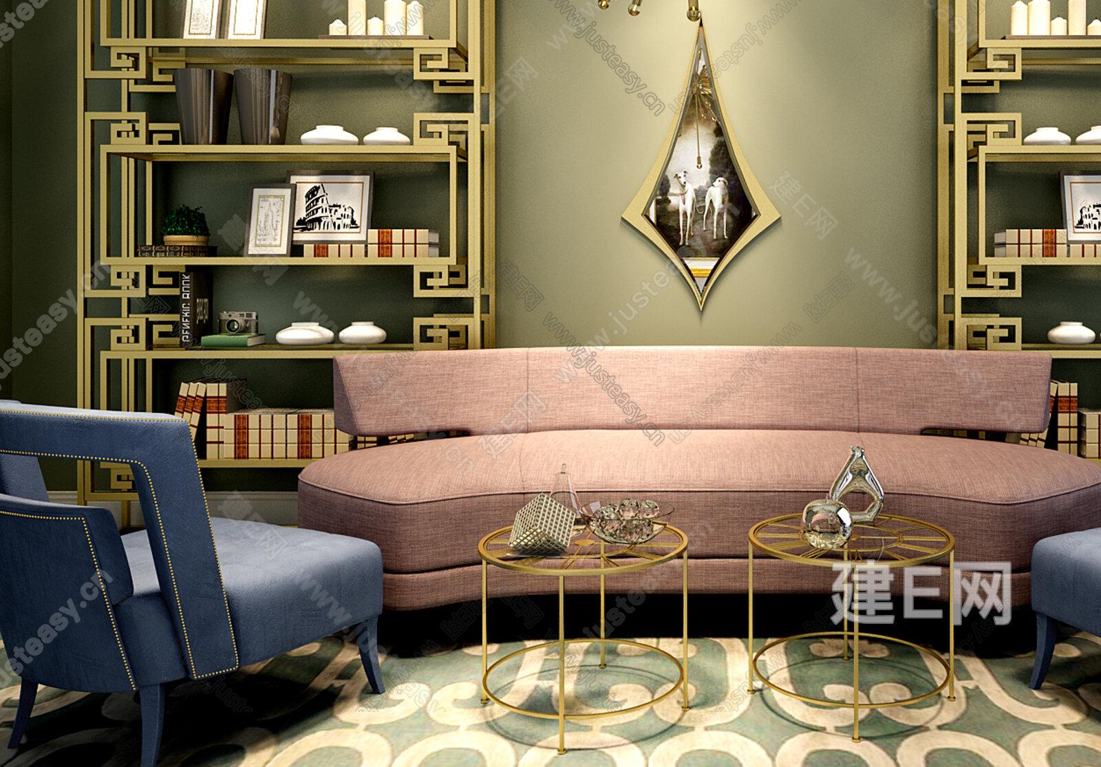 弧形沙发柜子椅子组合[模型id:132425]