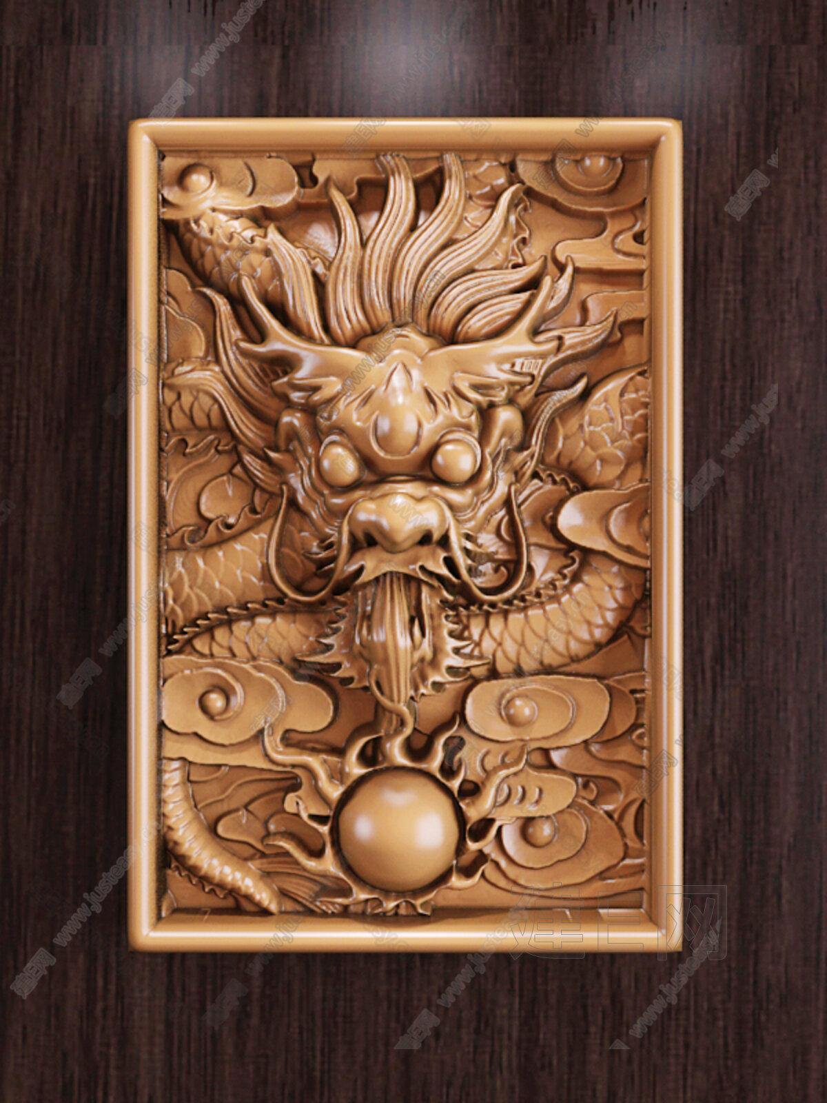 中式龙吐珠浮雕3d模型下载[id:133354]