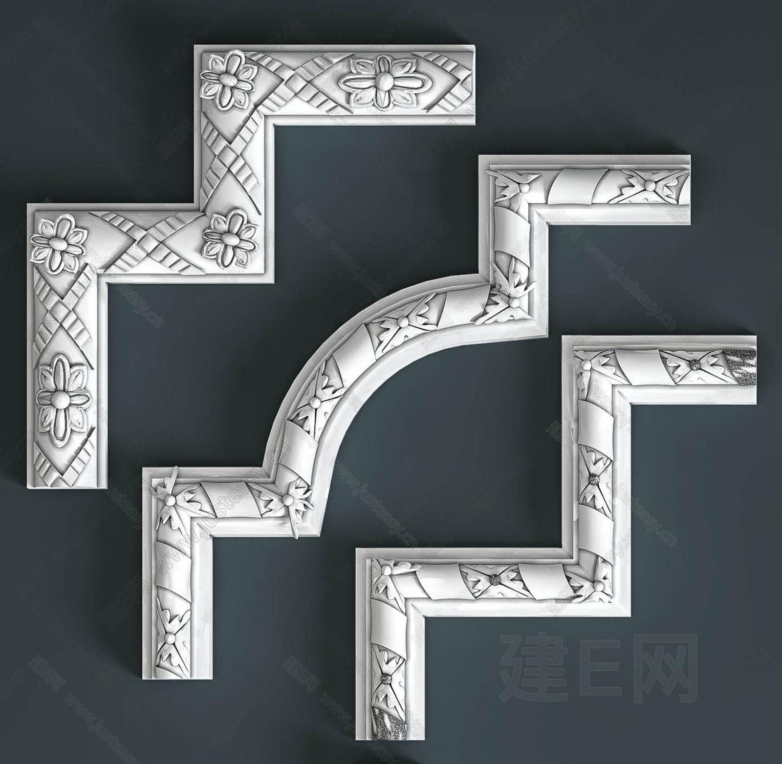 欧式石膏角线组合3d模型下载[id:134462]