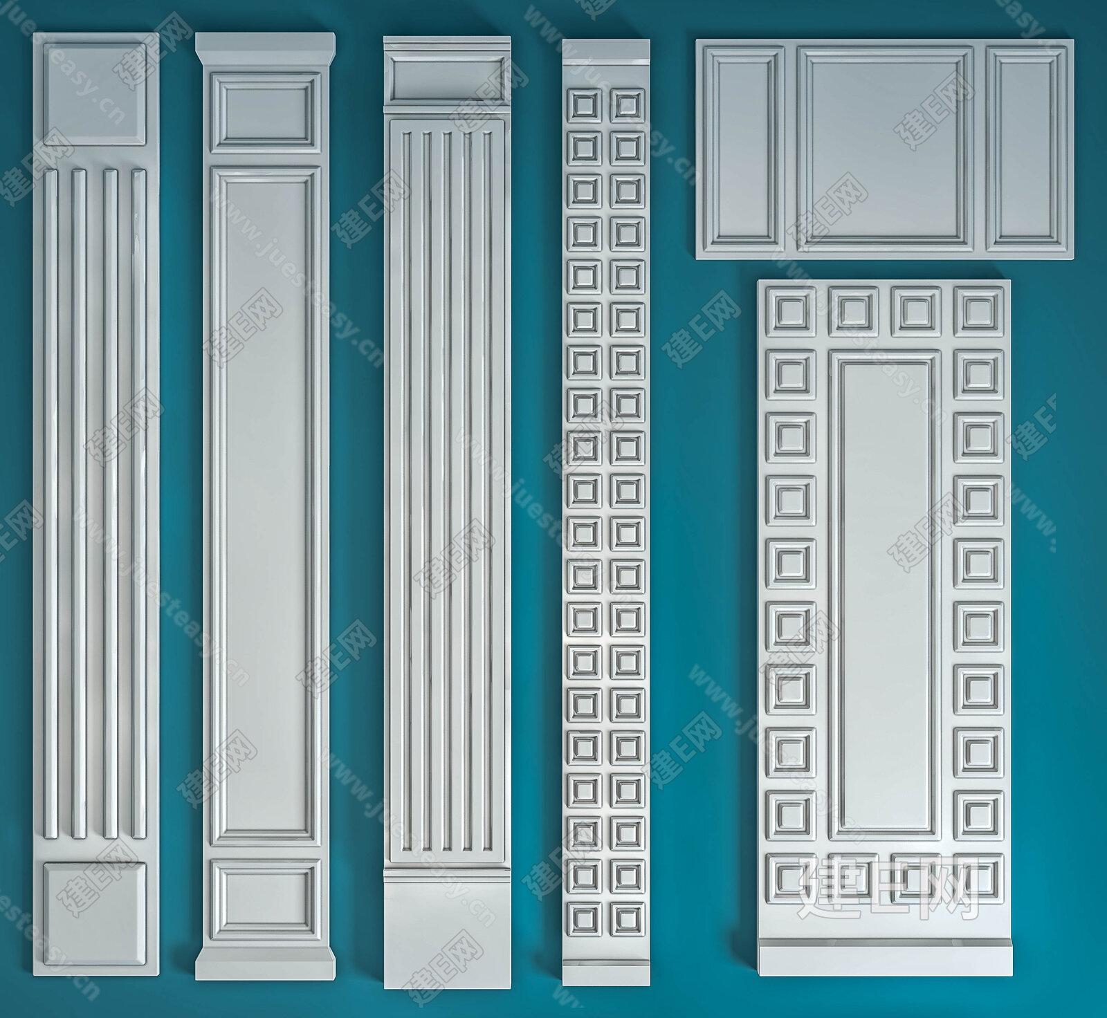 模型 构件五金 雕花 欧式石膏柱子组合[模型id:134521]