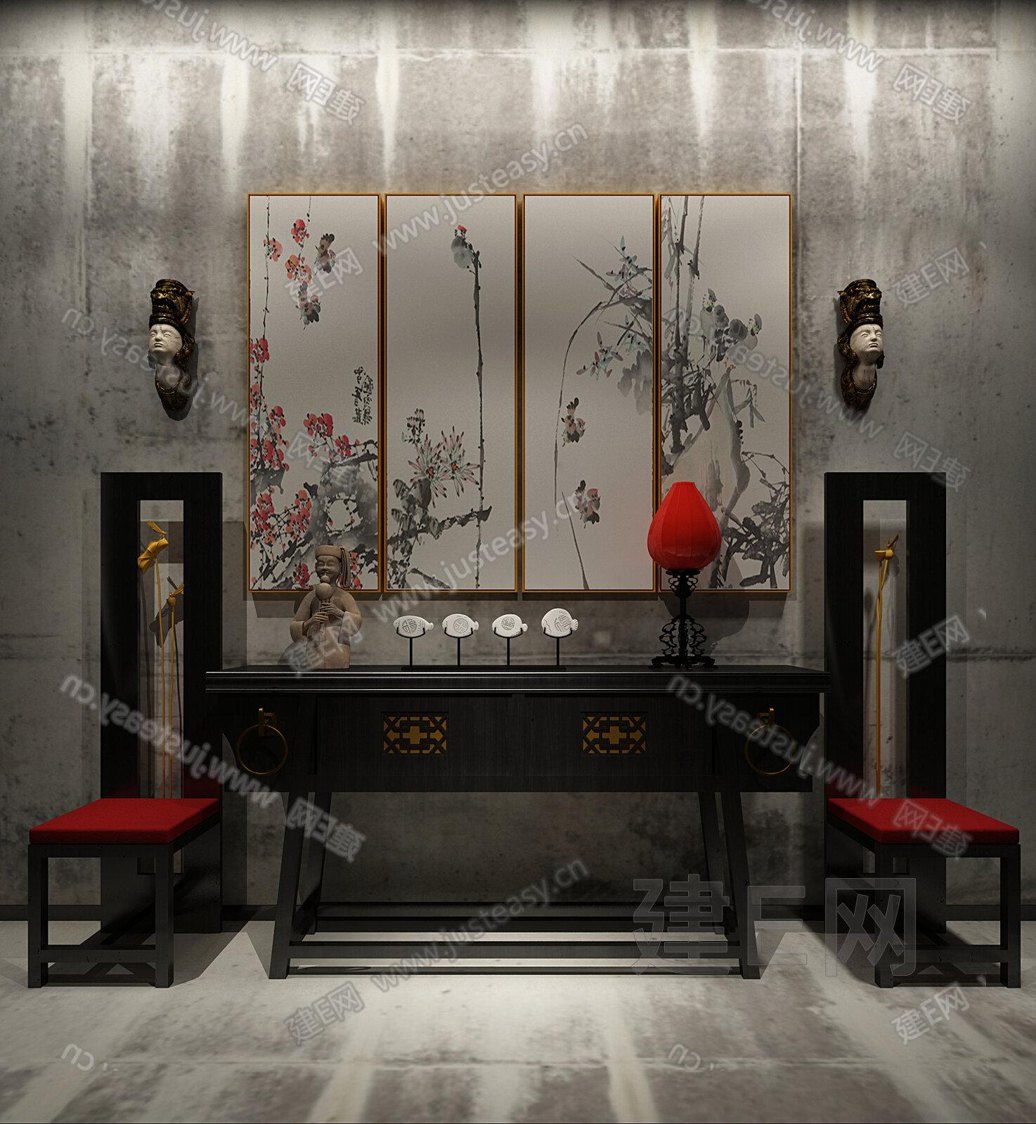 新中式端景台3d模型下载[id:134652]