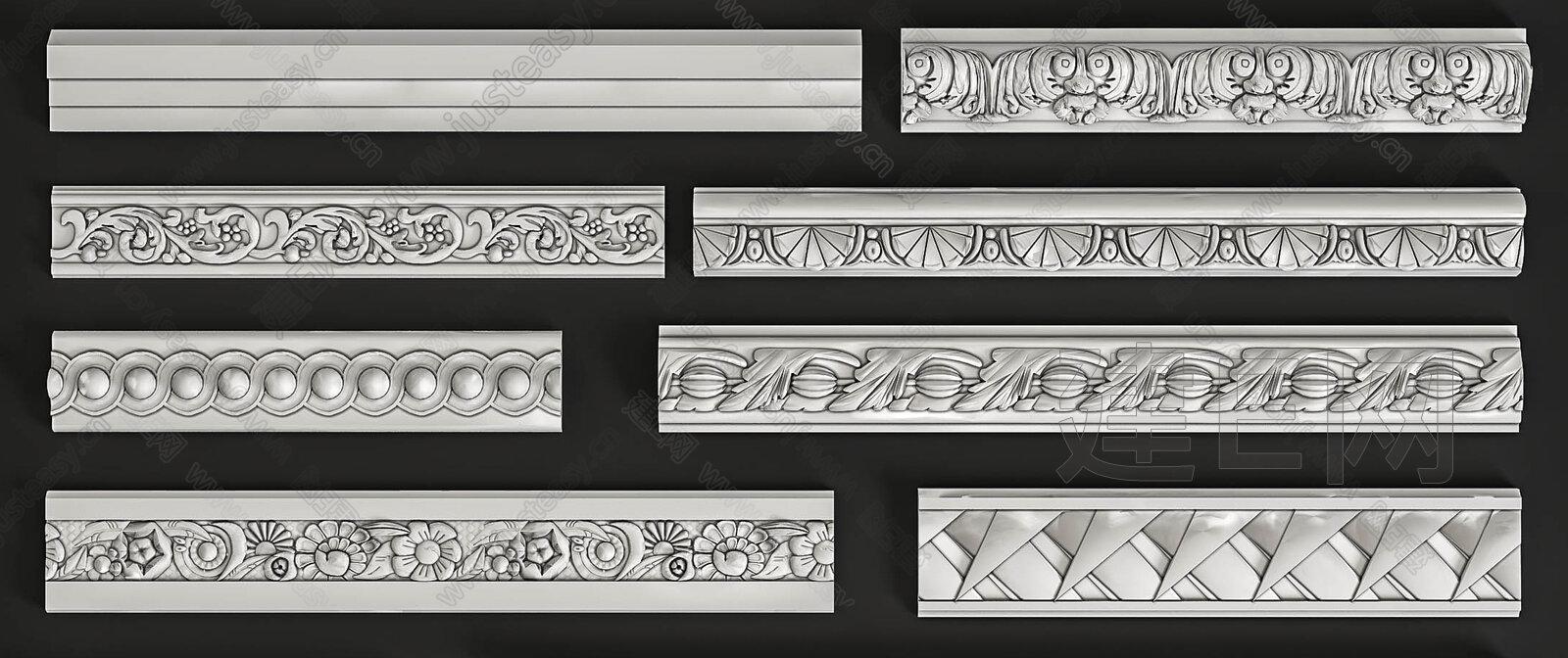 欧式石膏线组合3d模型下载[id:134853]