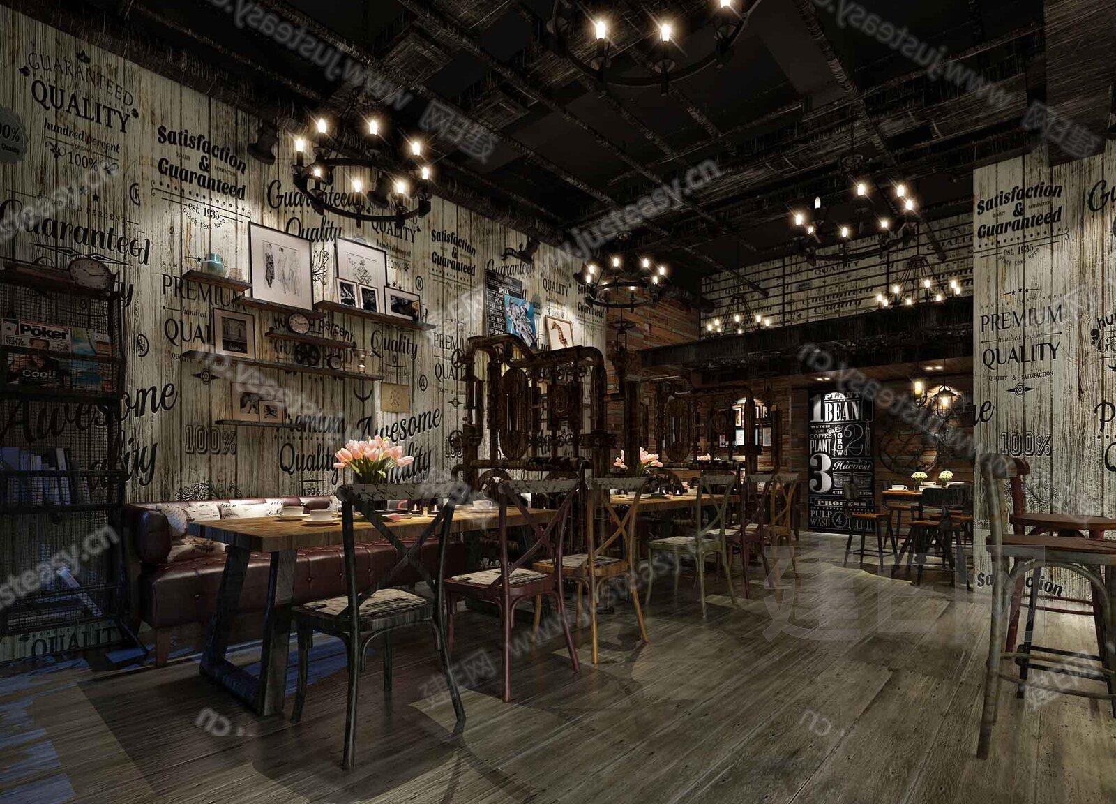 工业loft 咖啡厅3d模型下载[id:139698]_建e网模型-3d
