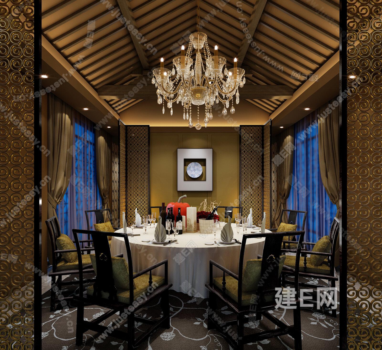 新中式餐厅包间餐厅酒店空间模型-3d模型分享交流平台