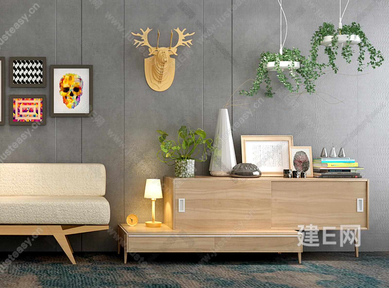 北欧原木沙发柜子灯具组合3d模型下载[id:136211]