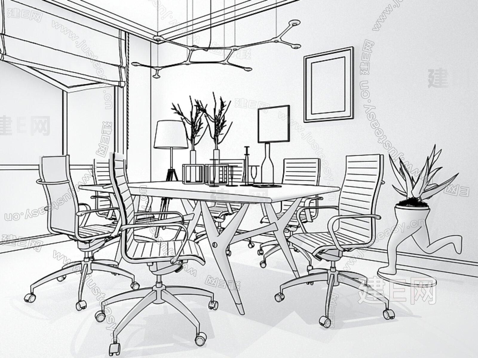 简单桌椅手绘线稿