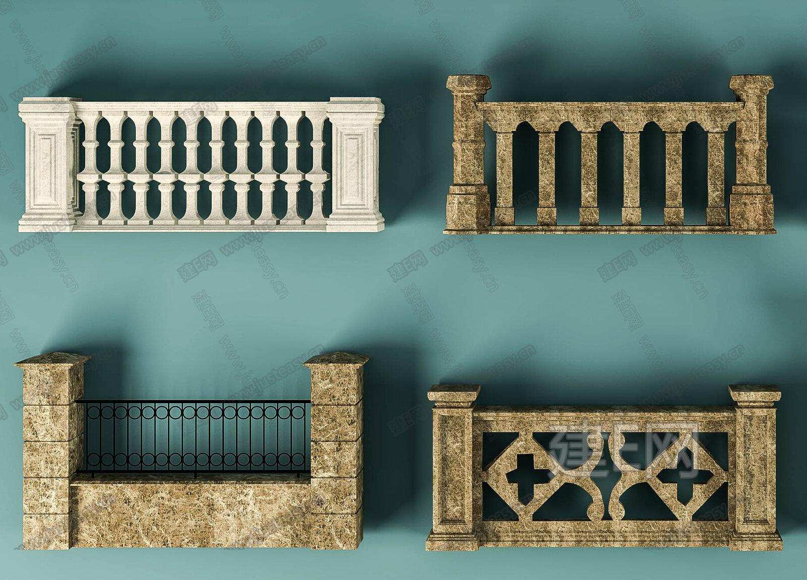 欧式护栏组合3d模型下载[id:136732]