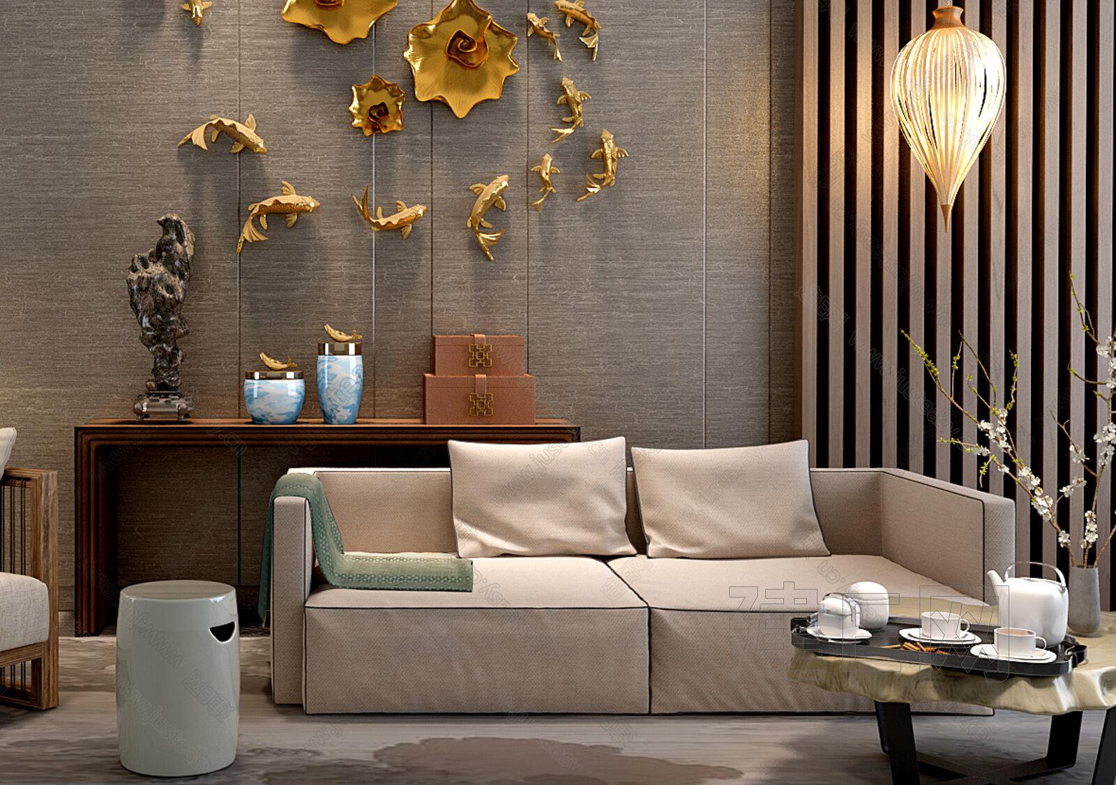 新中式沙发壁饰组合[模型id:137578]图片