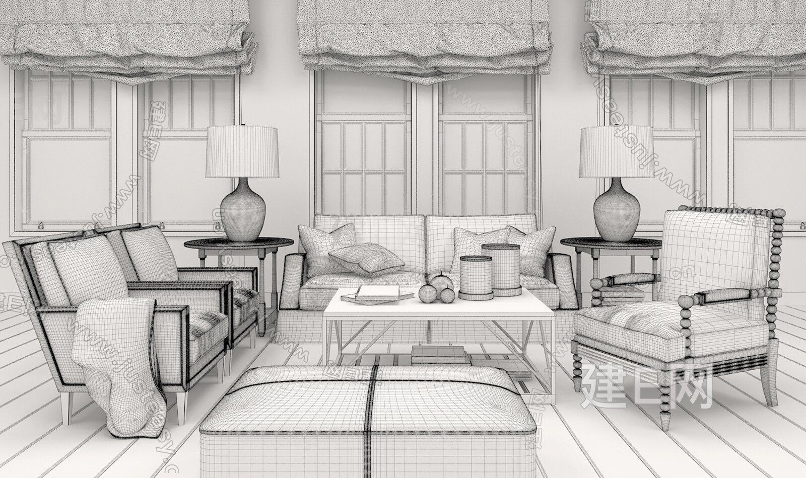 工业沙发的结构素描