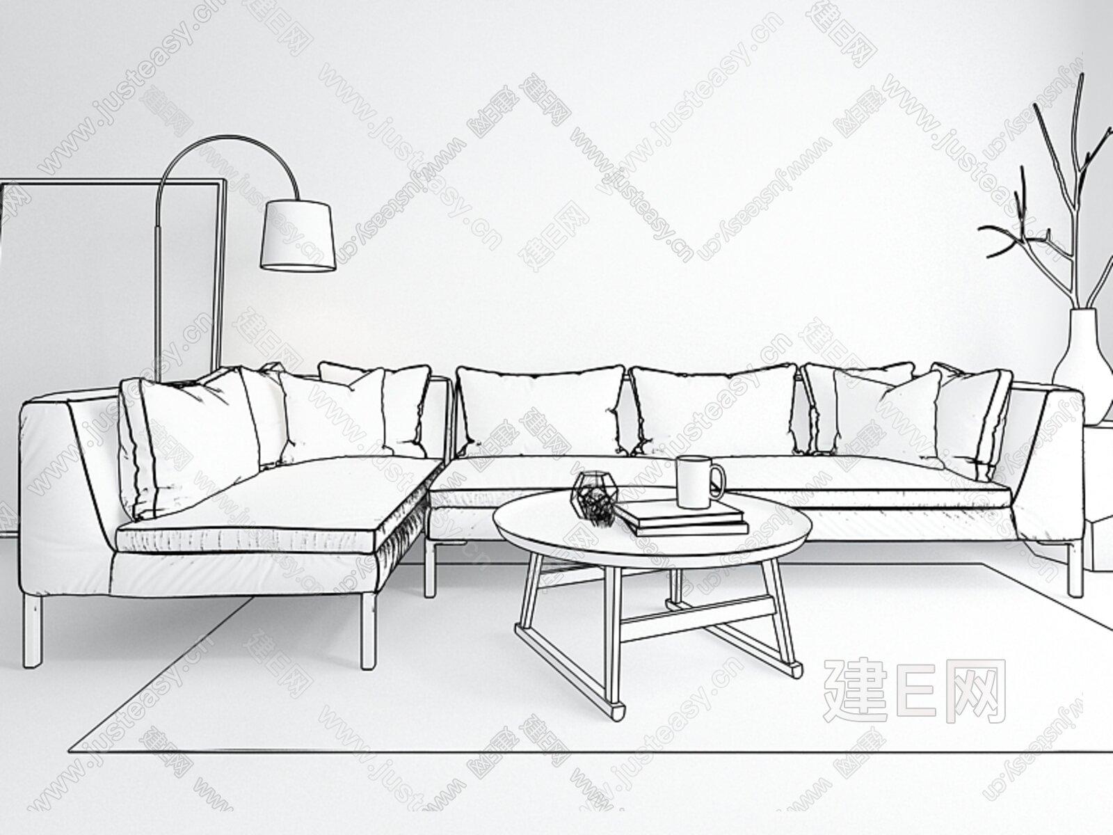 概念组合转角沙发[模型id:137907]