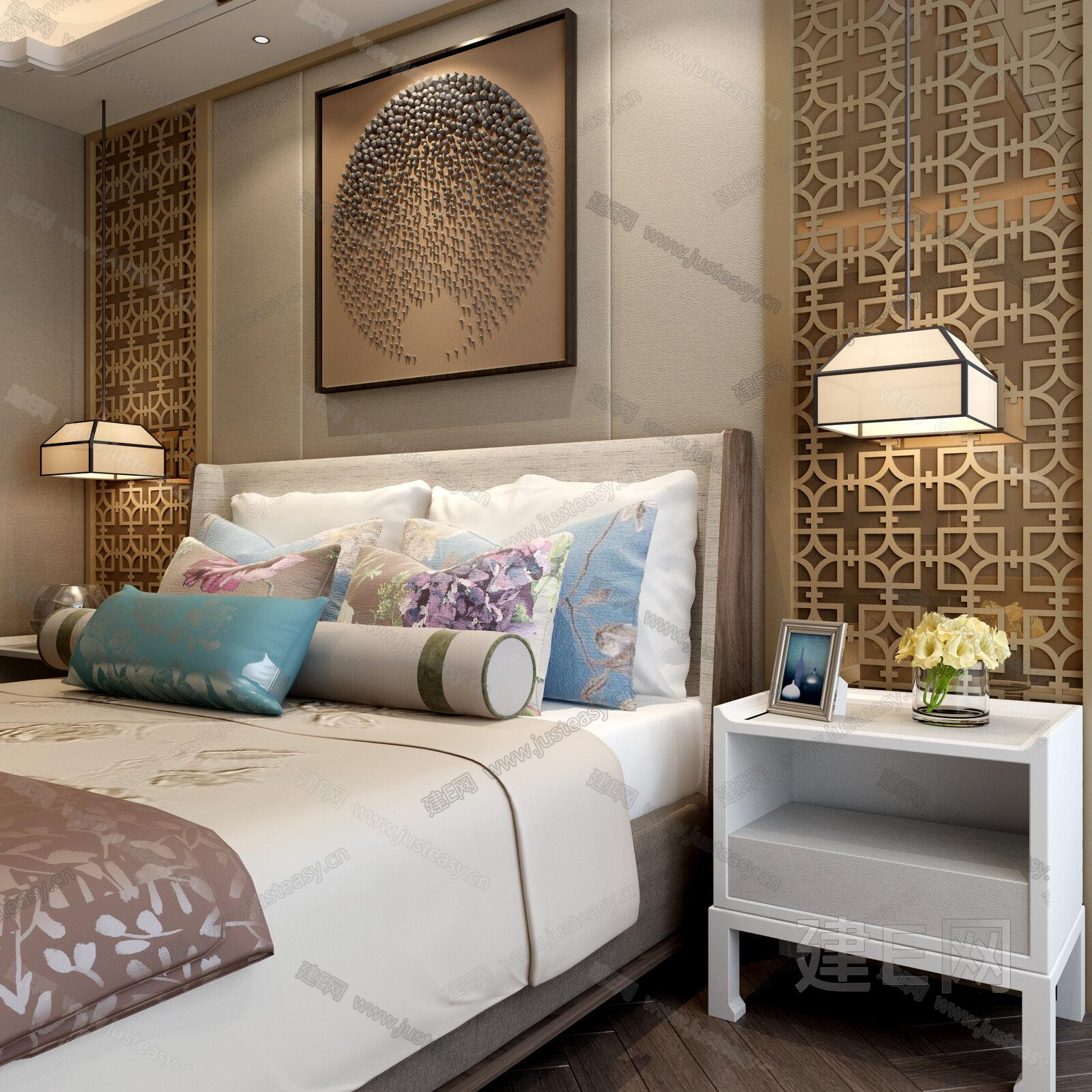 现代中式床吊灯床头柜屏风组合图片