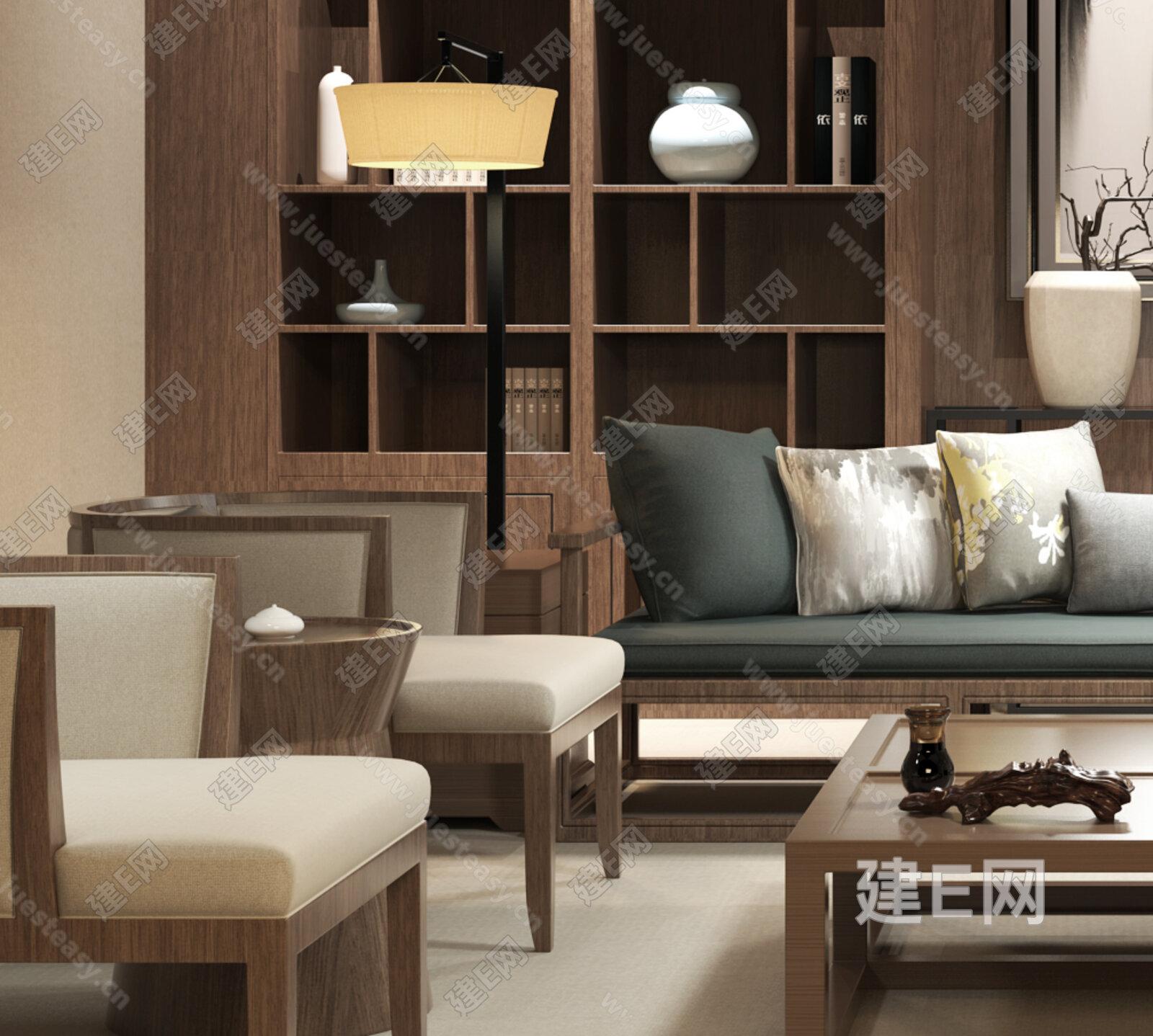 新中式沙发椅子组合[模型id:143525]