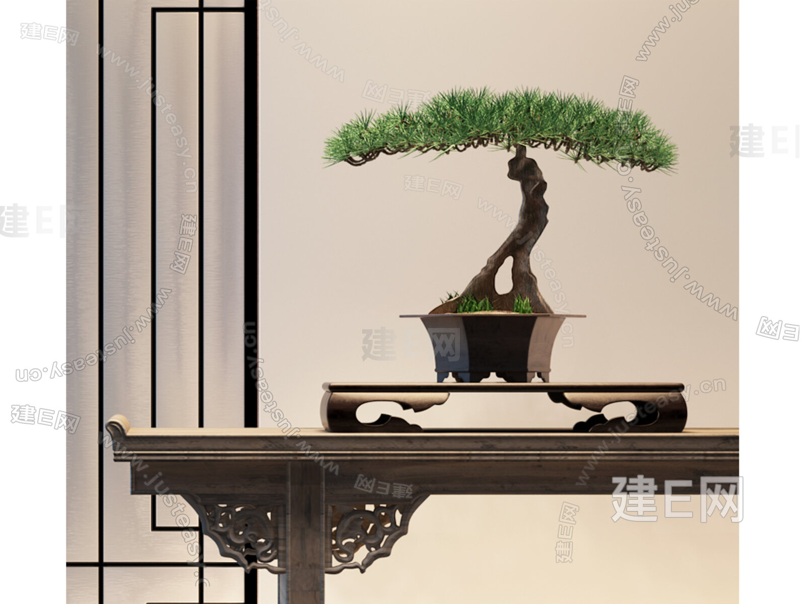 现代新中式植物松树盆栽3d模型下载[id:143731]