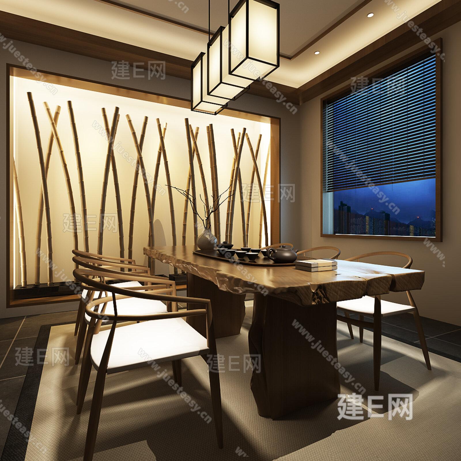 新中式东南亚茶室桌椅组合[模型id:146661]