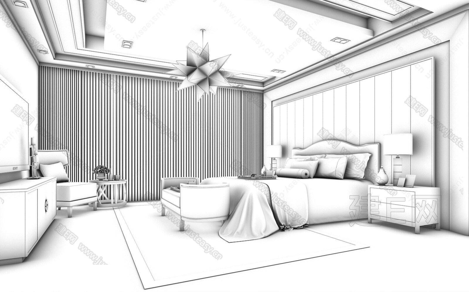 现代中式卧室[模型id:147770]