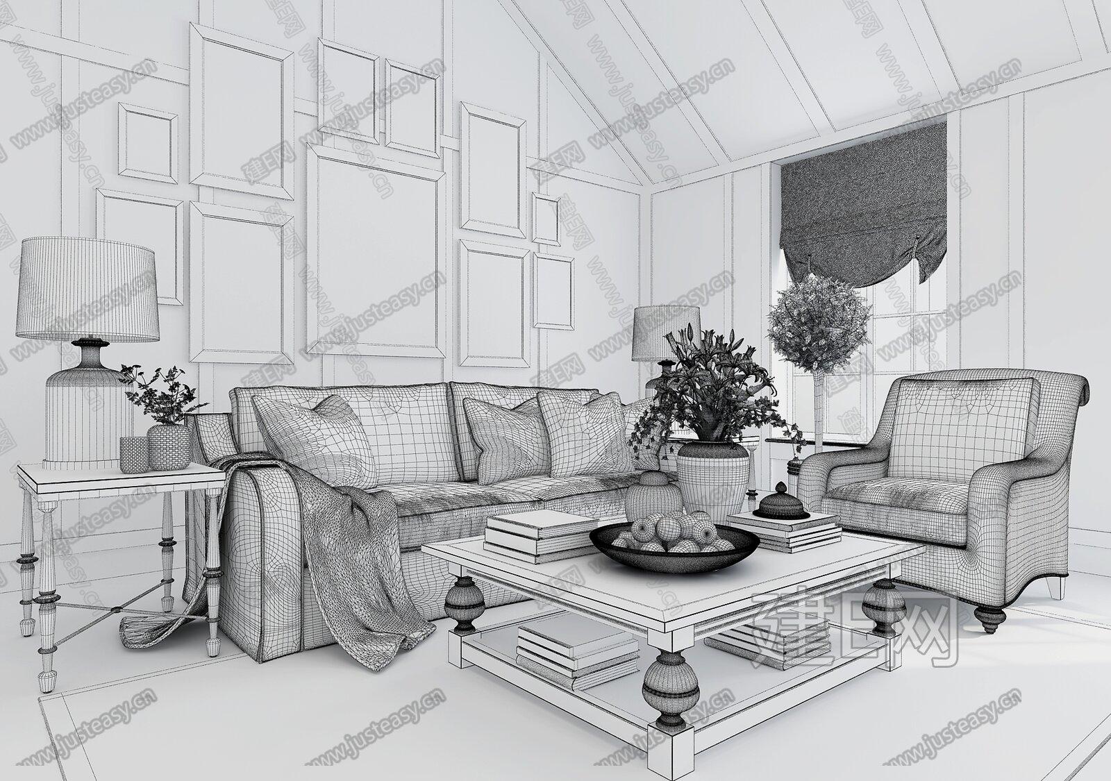 美式风格室内手绘线稿