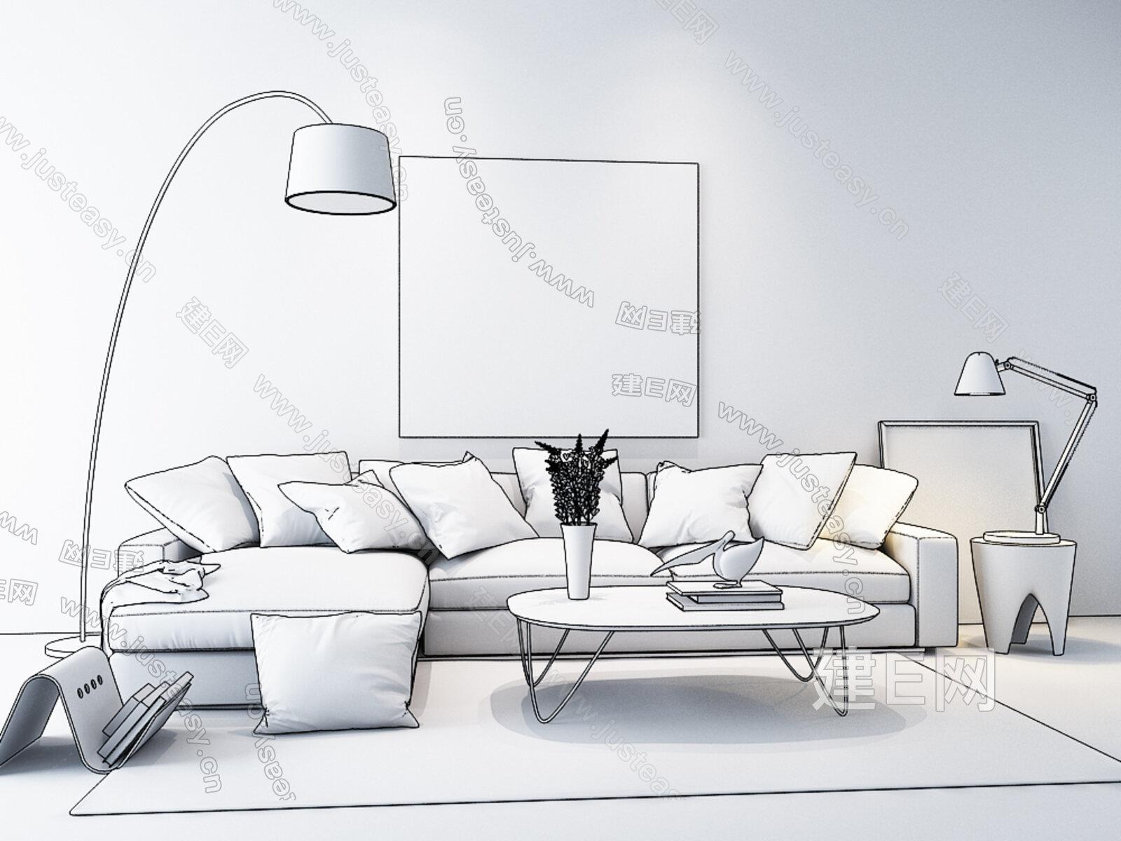 现代北欧沙发[模型id:150802]