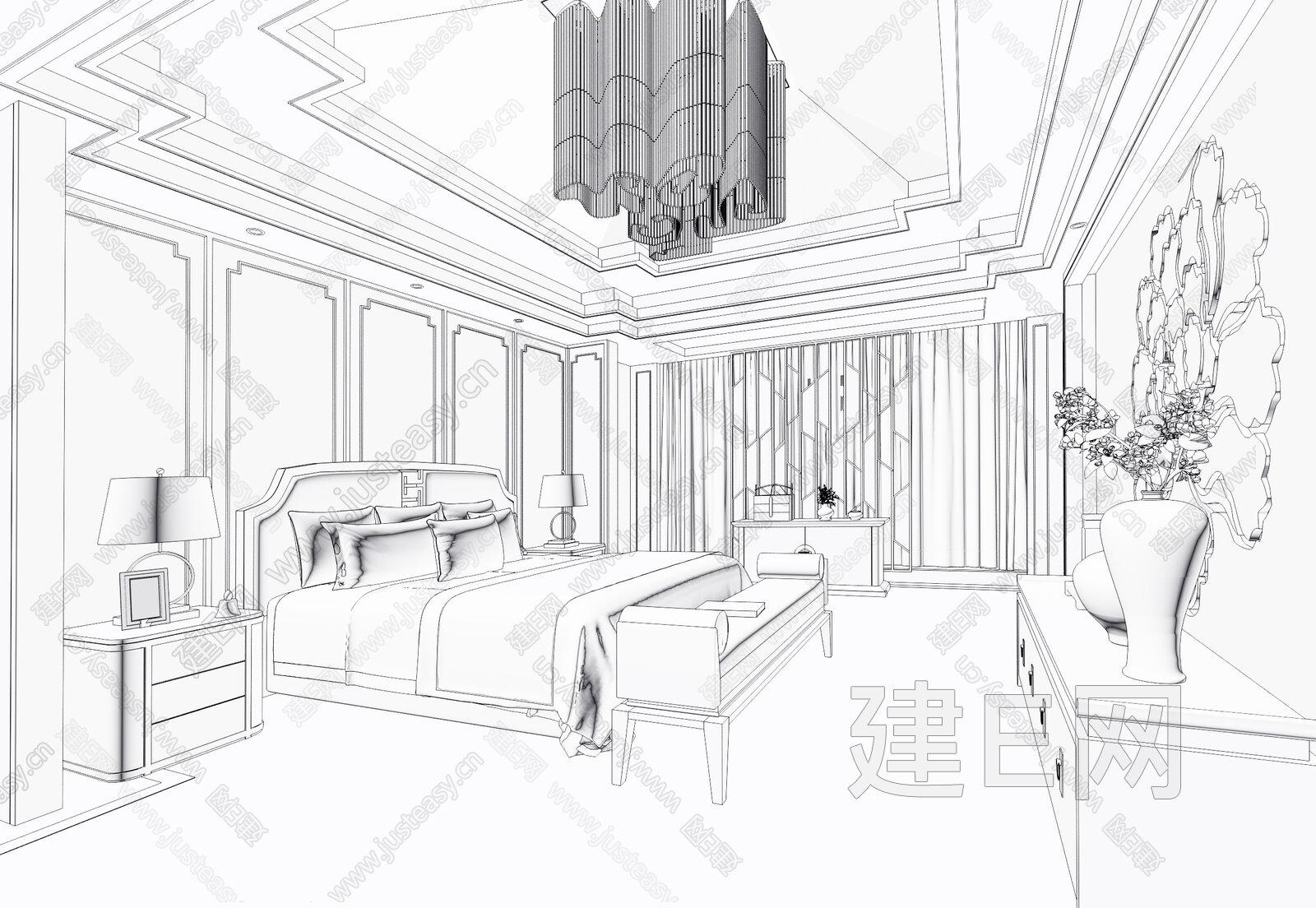 手绘线稿大卧室平面图