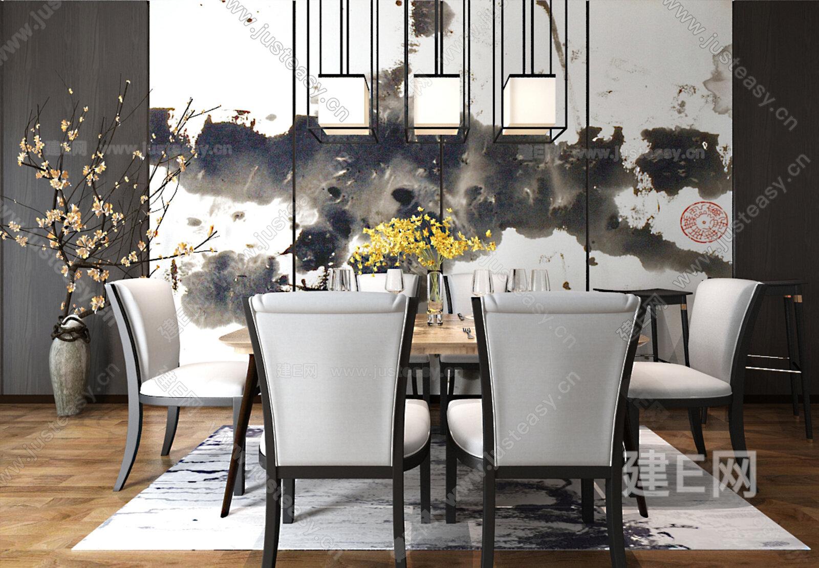 新中式餐桌组合3d模型图片