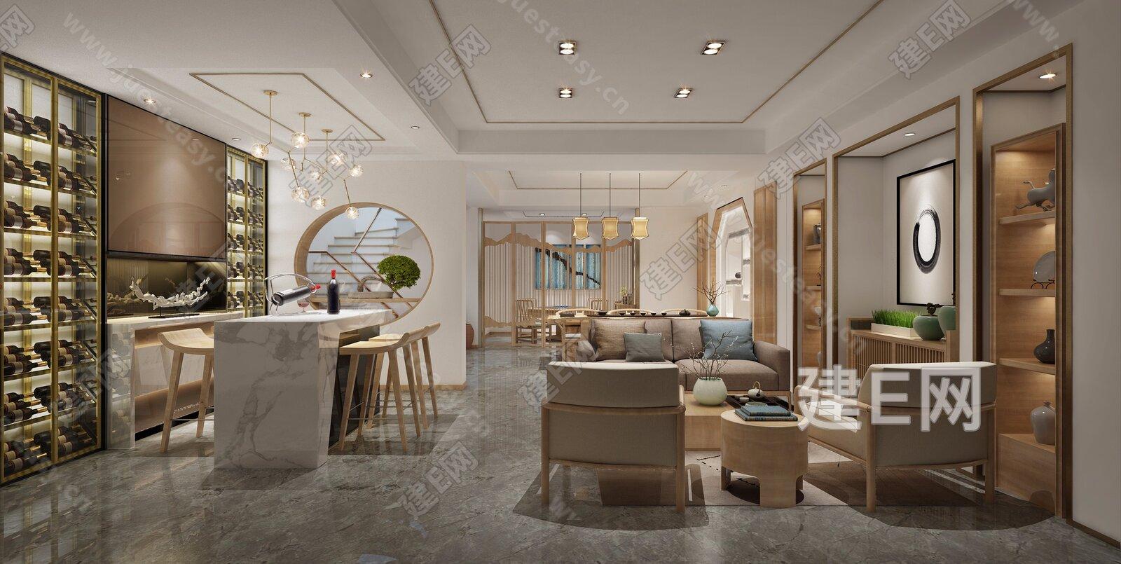 新中式客厅茶室水吧台[模型id:185761]
